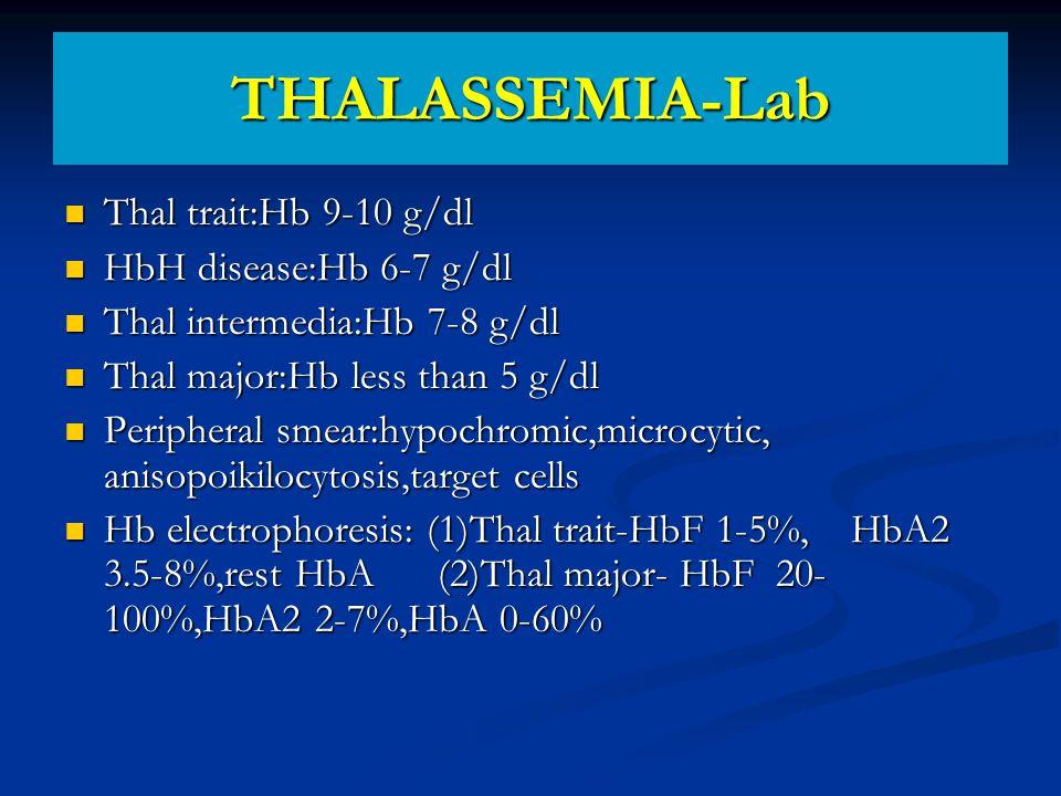 THALASSEMIA-Lab Thal trait:Hb 9-10 g/dl HbH disease:Hb 6-7 g/dl