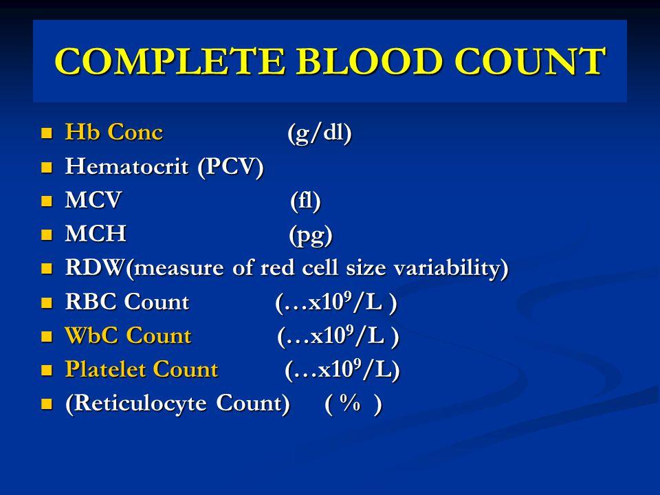 COMPLETE BLOOD COUNT Hb Conc (g/dl) Hematocrit (PCV) MCV (fl) MCH (pg)