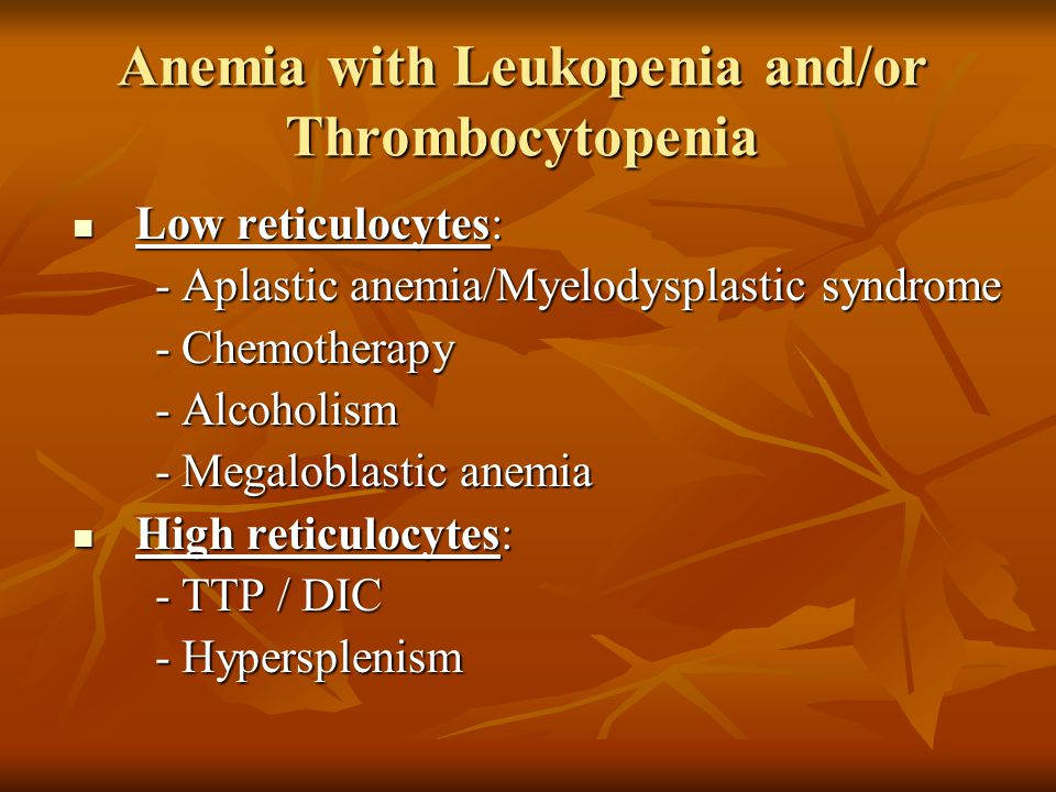 Anemia with Leukopenia and/or Thrombocytopenia