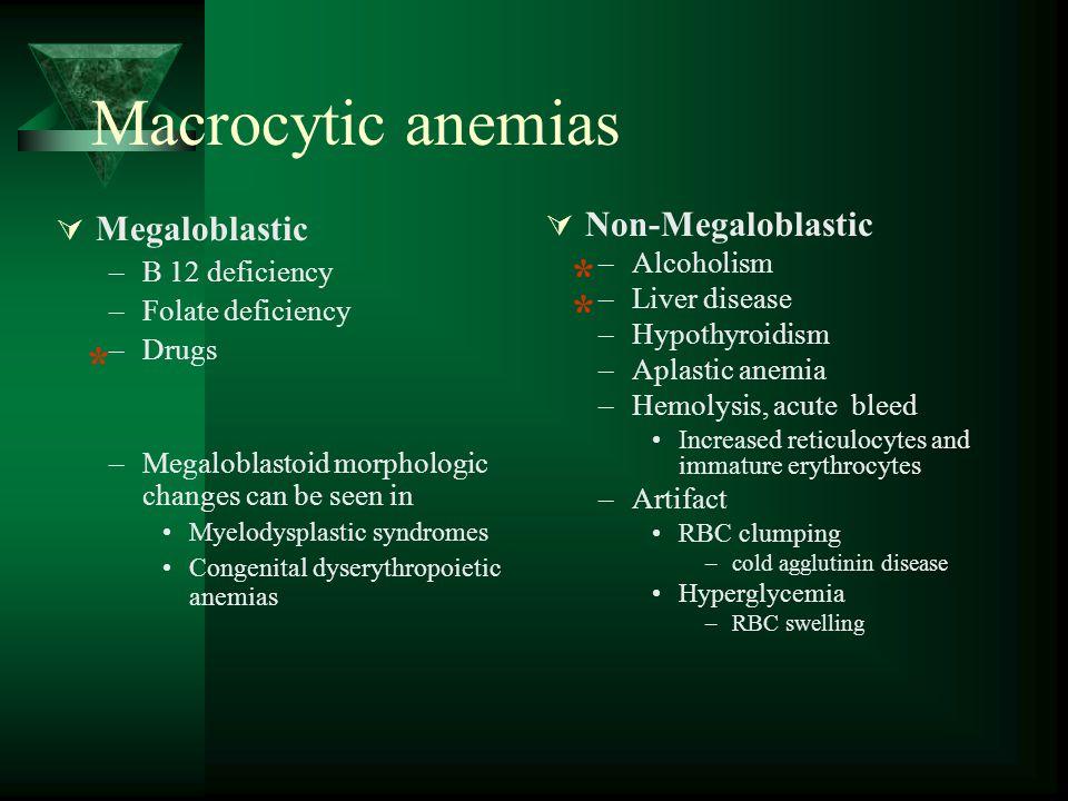 Macrocytic anemias * * * Megaloblastic Non-Megaloblastic