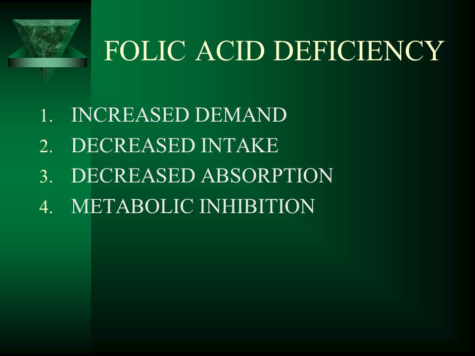 FOLIC ACID DEFICIENCY INCREASED DEMAND DECREASED INTAKE