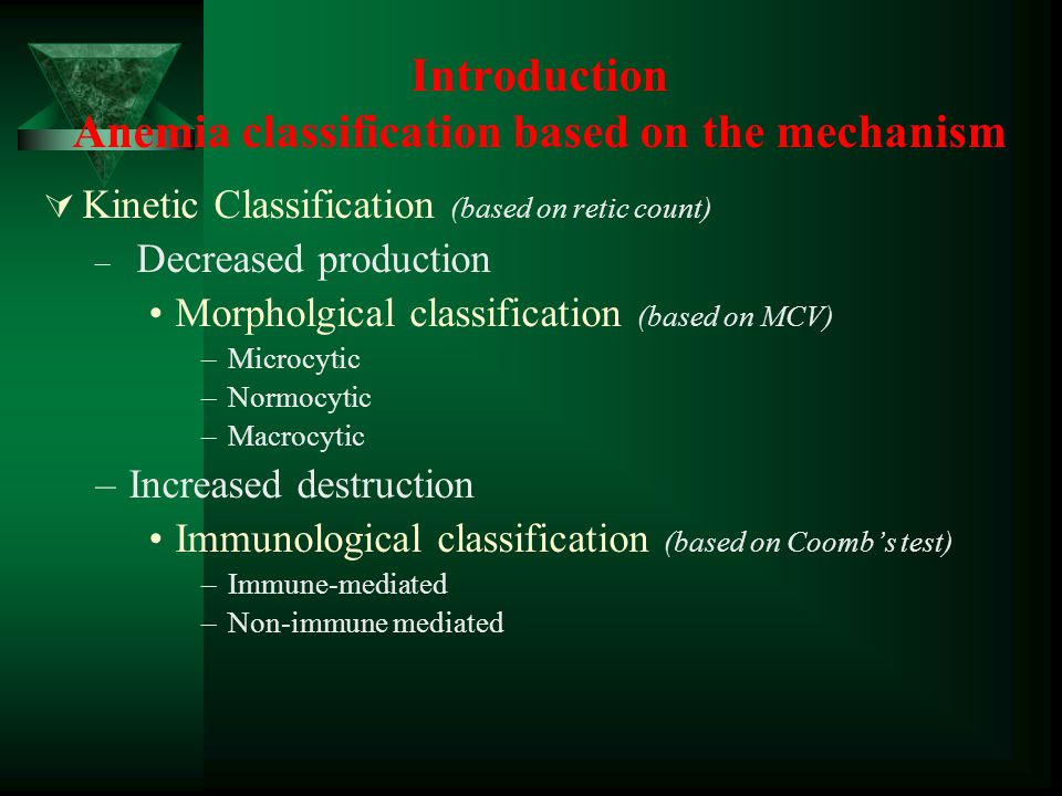 Introduction Anemia classification based on the mechanism