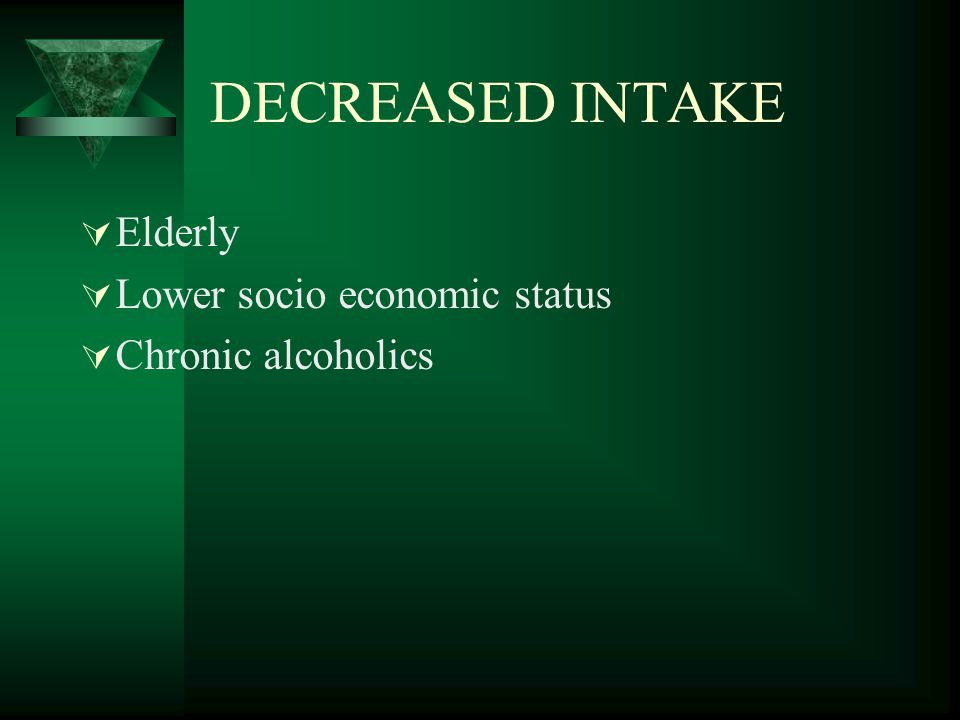 DECREASED INTAKE Elderly Lower socio economic status