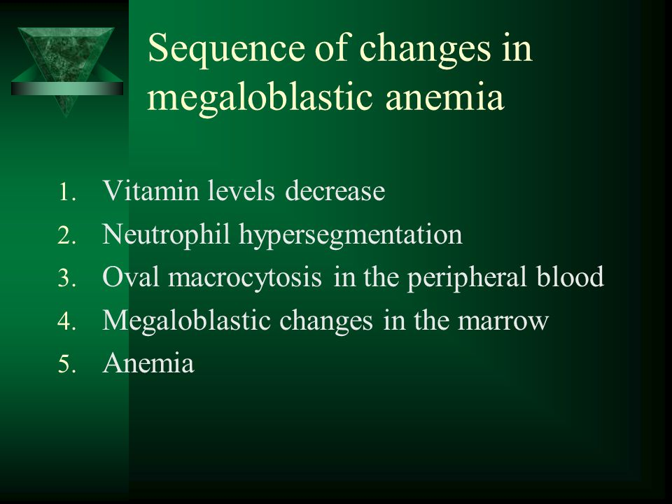 Sequence of changes in megaloblastic anemia