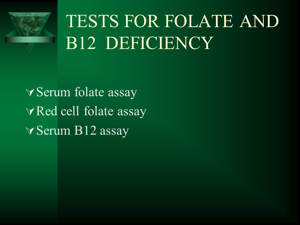 TESTS FOR FOLATE AND B12 DEFICIENCY
