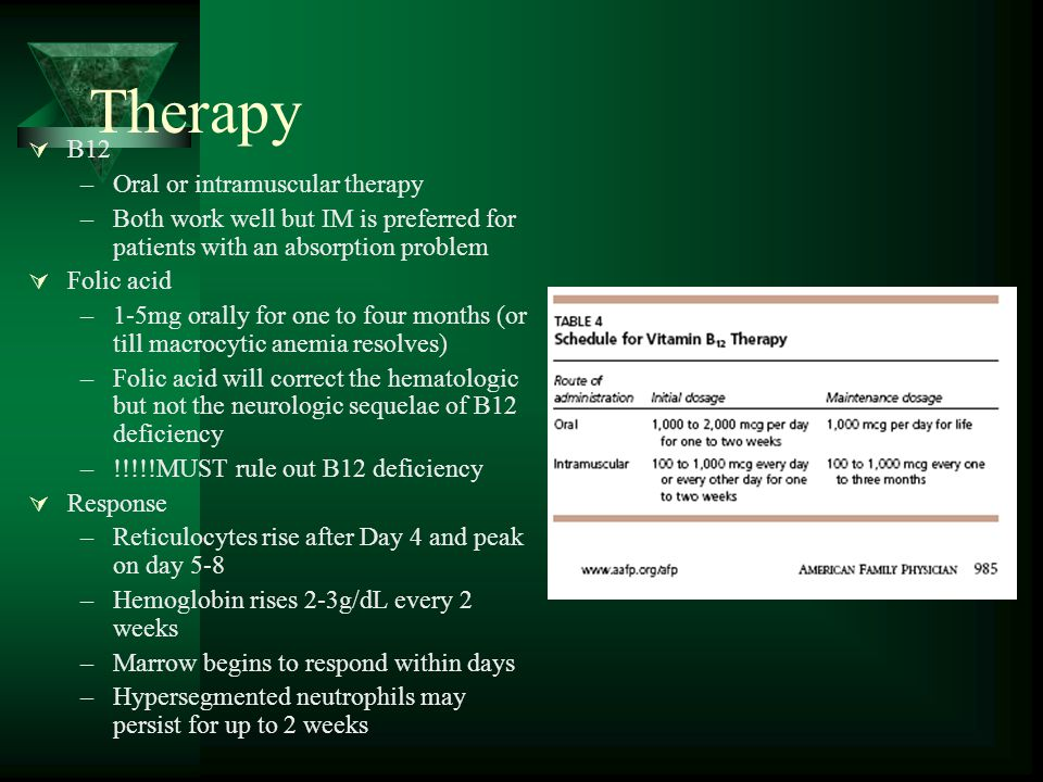 Therapy B12 Oral or intramuscular therapy