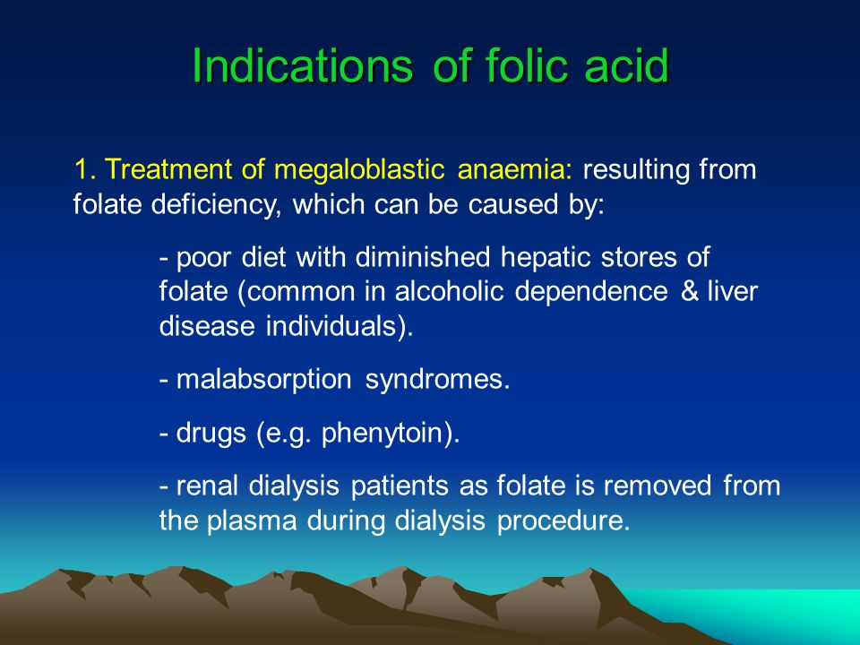 Indications of folic acid
