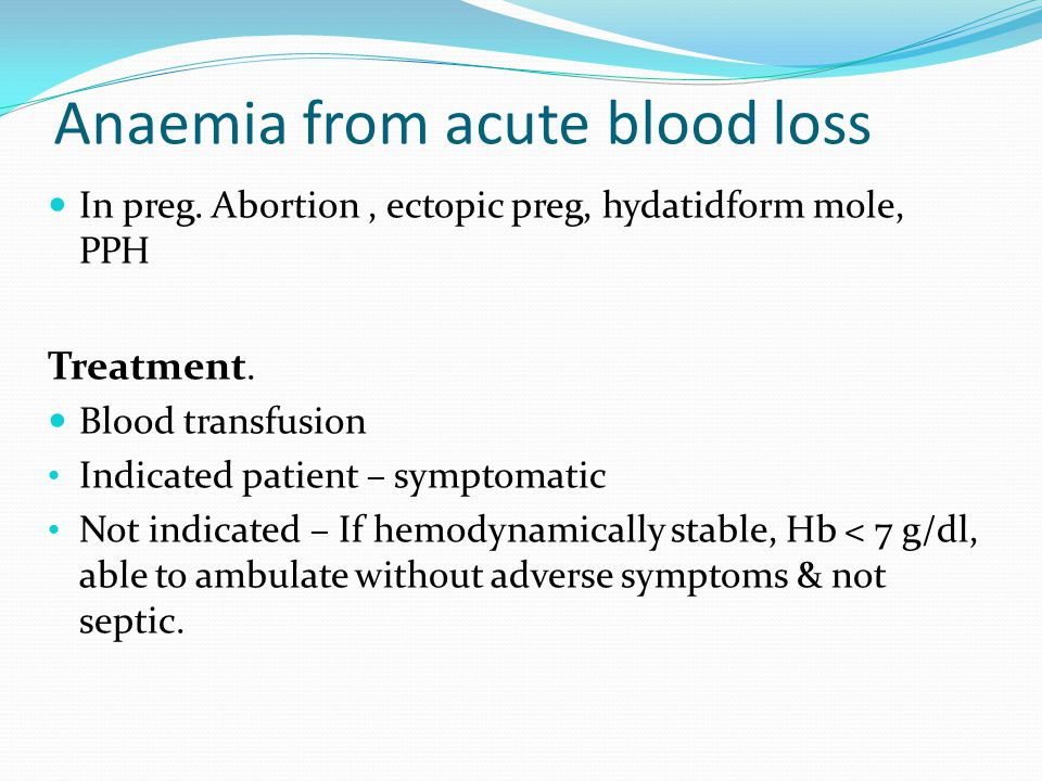 Anaemia from acute blood loss