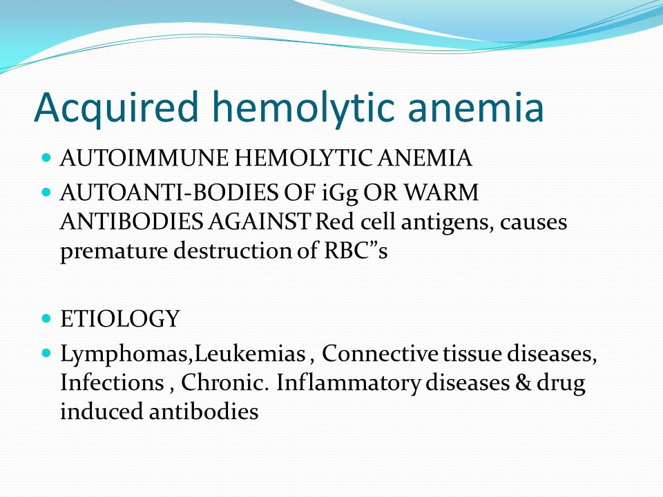 Acquired hemolytic anemia