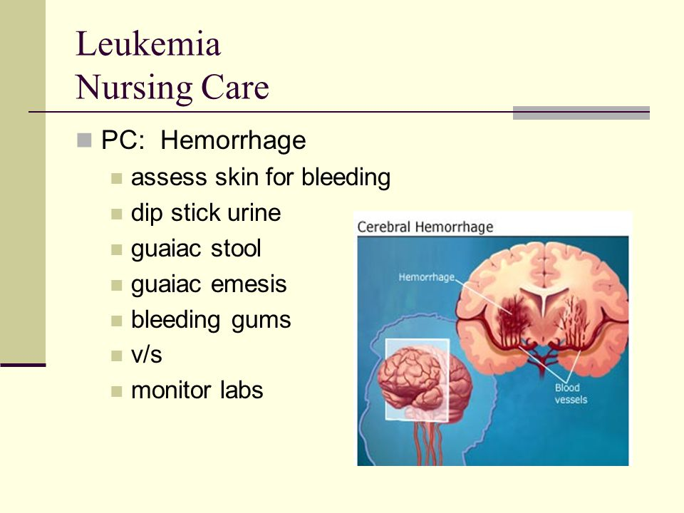 Leukemia Nursing Care PC: Hemorrhage assess skin for bleeding