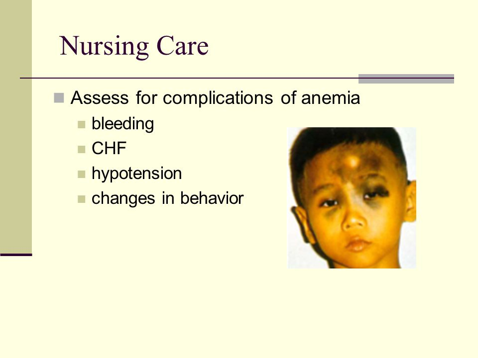 Nursing Care Assess for complications of anemia bleeding CHF
