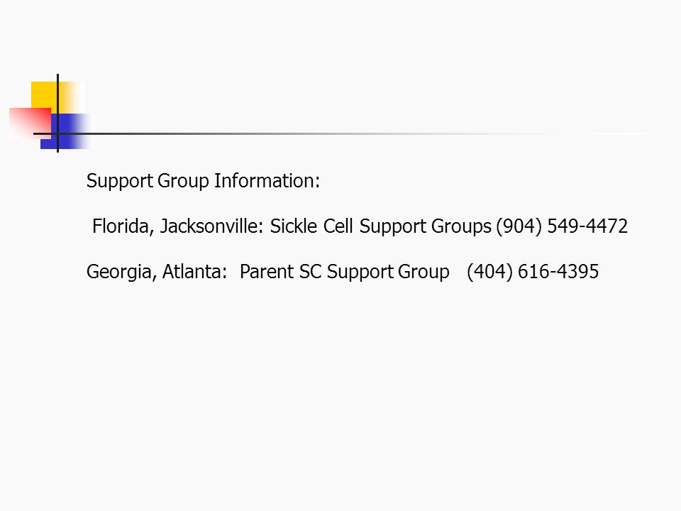 Support Group Information: