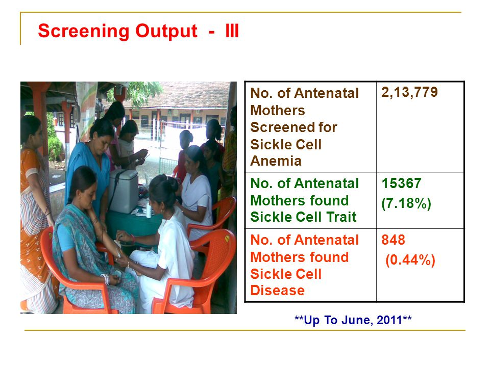 Screening Output - III No. of Antenatal Mothers Screened for Sickle Cell Anemia. 2,13,779. No. of Antenatal Mothers found Sickle Cell Trait.