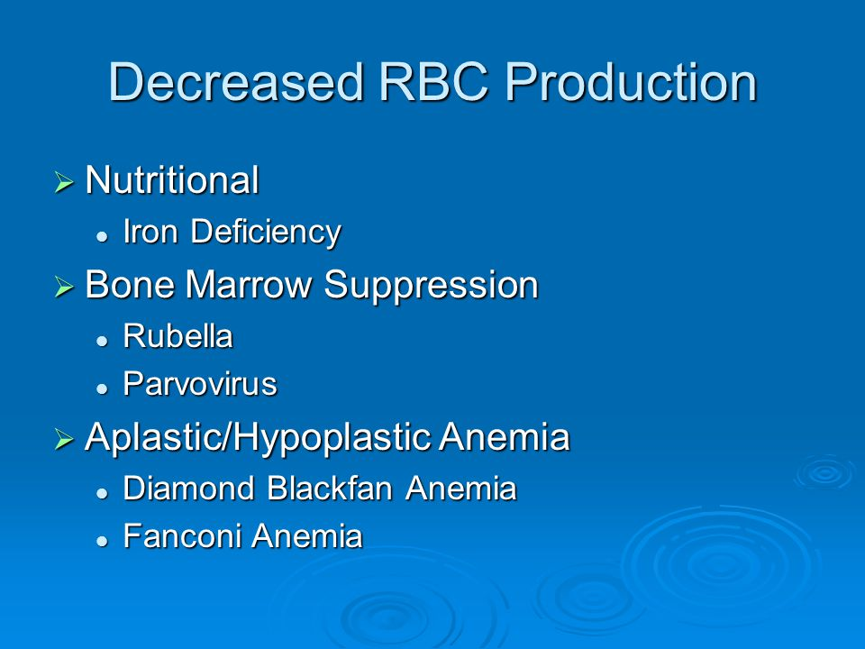 Decreased RBC Production