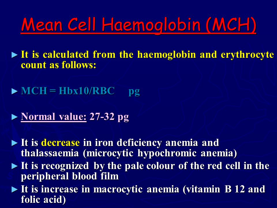 Mean Cell Haemoglobin (MCH)