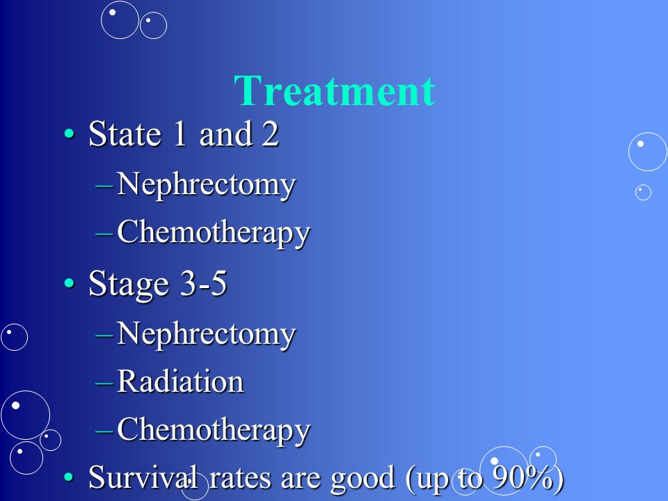 Treatment State 1 and 2 Stage 3-5 Nephrectomy Chemotherapy Radiation