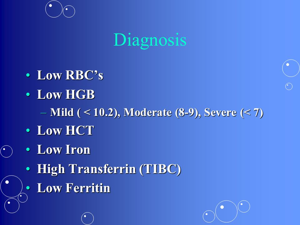 Diagnosis Low RBC's Low HGB Low HCT Low Iron High Transferrin (TIBC)