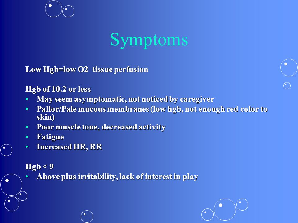 Symptoms Low Hgb=low O2 tissue perfusion Hgb of 10.2 or less