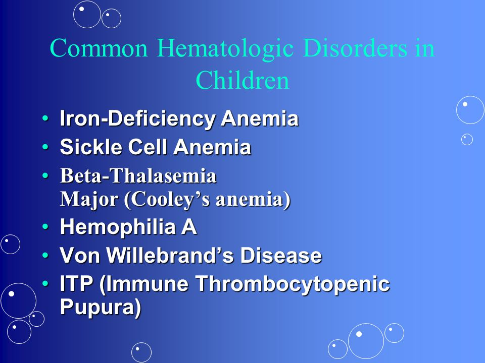 Common Hematologic Disorders in Children