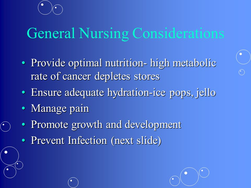 General Nursing Considerations