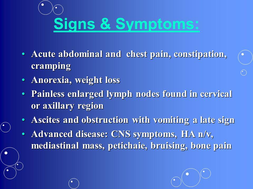 Signs & Symptoms: Acute abdominal and chest pain, constipation, cramping. Anorexia, weight loss.
