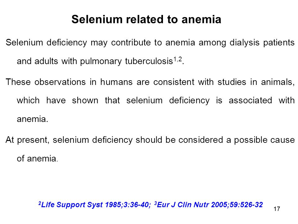 Selenium related to anemia