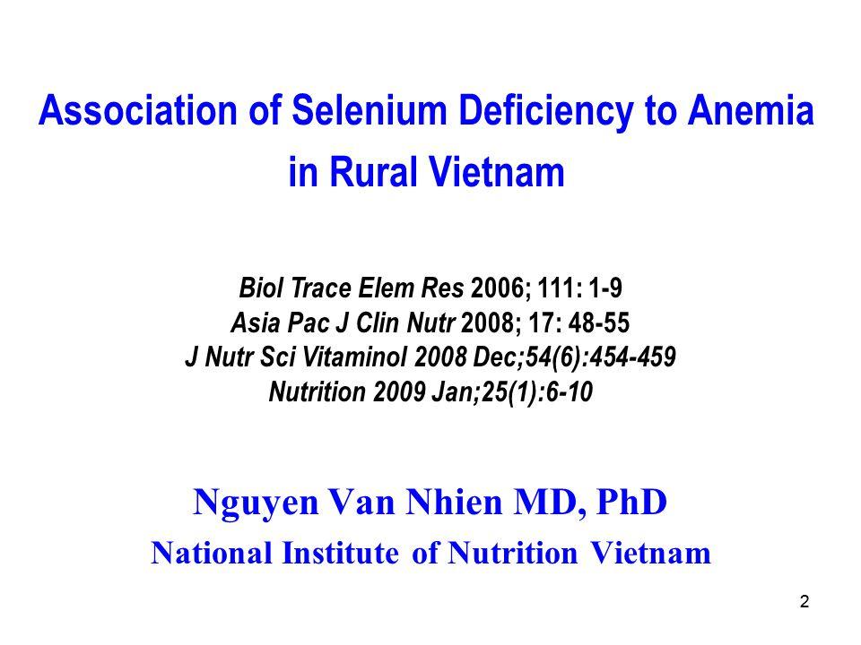 Association of Selenium Deficiency to Anemia in Rural Vietnam