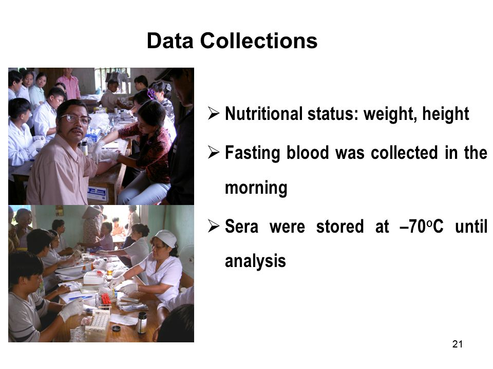 Data Collections Nutritional status: weight, height