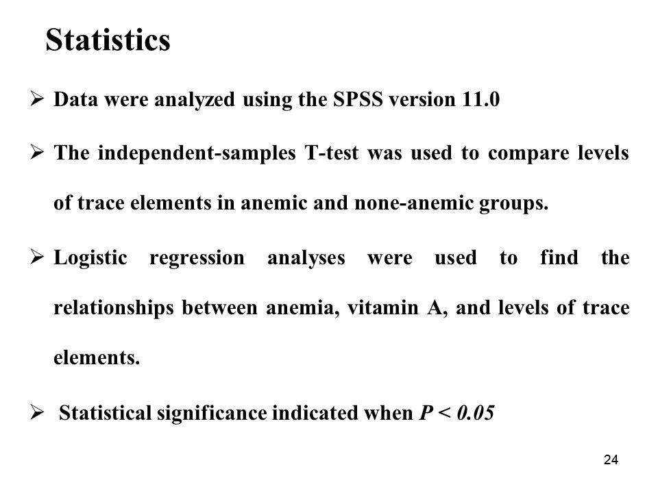 Statistics Data were analyzed using the SPSS version 11.0