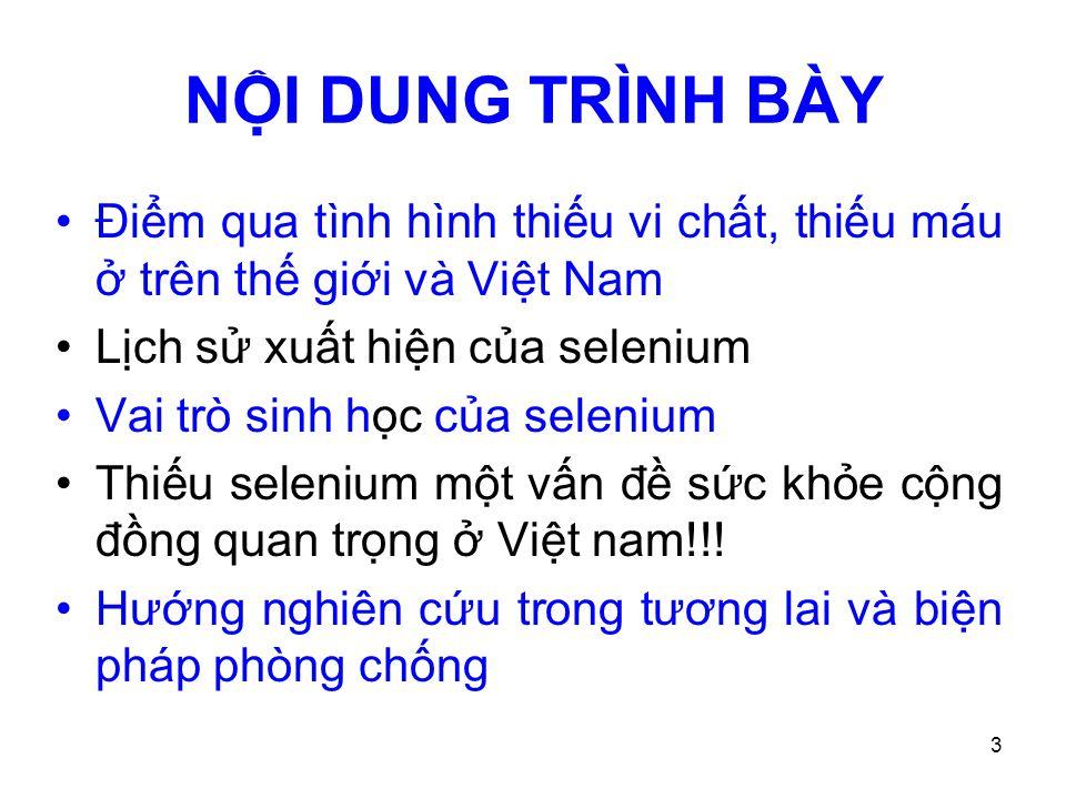 NỘI DUNG TRÌNH BÀY Điểm qua tình hình thiếu vi chất, thiếu máu ở trên thế giới và Việt Nam. Lịch sử xuất hiện của selenium.