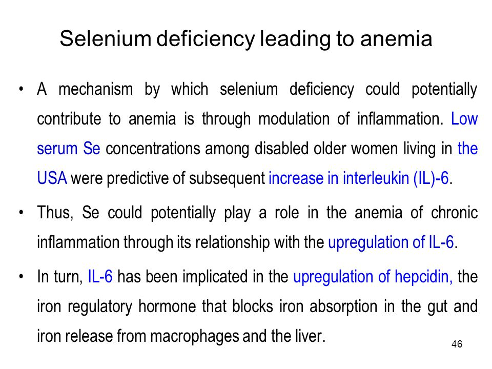 Selenium deficiency leading to anemia