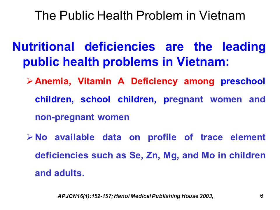 The Public Health Problem in Vietnam