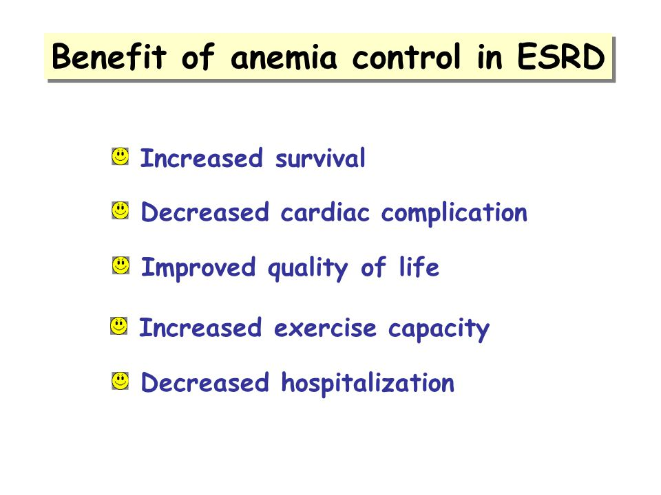 Benefit of anemia control in ESRD