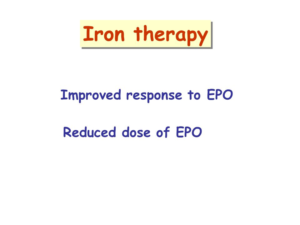 Iron therapy Improved response to EPO Reduced dose of EPO