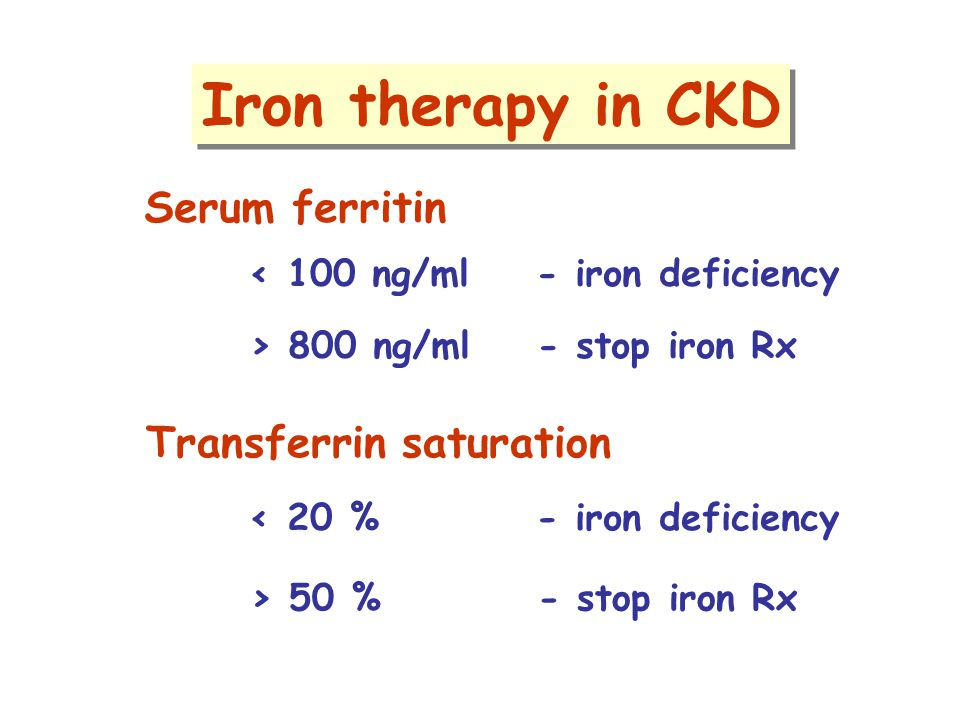 Iron therapy in CKD Serum ferritin Transferrin saturation