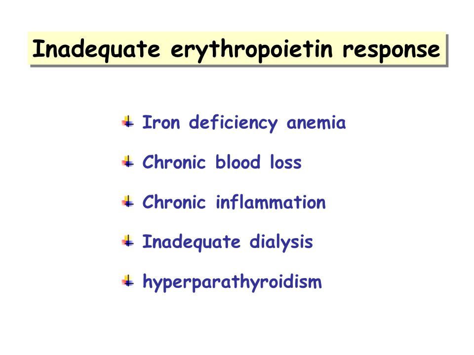 Inadequate erythropoietin response