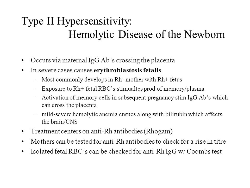 Type II Hypersensitivity: Hemolytic Disease of the Newborn