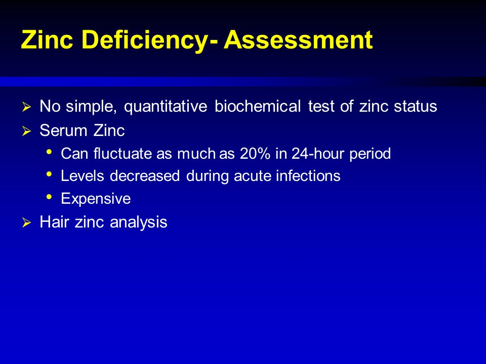 Zinc Deficiency- Assessment