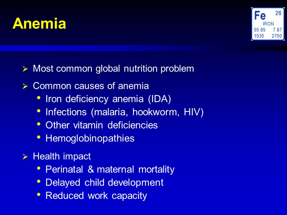 Anemia Iron deficiency anemia (IDA)