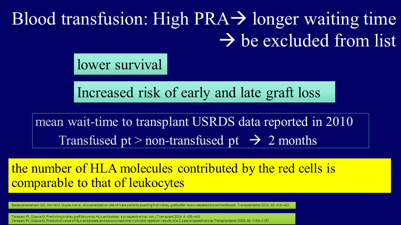 Blood transfusion: High PRA longer waiting time