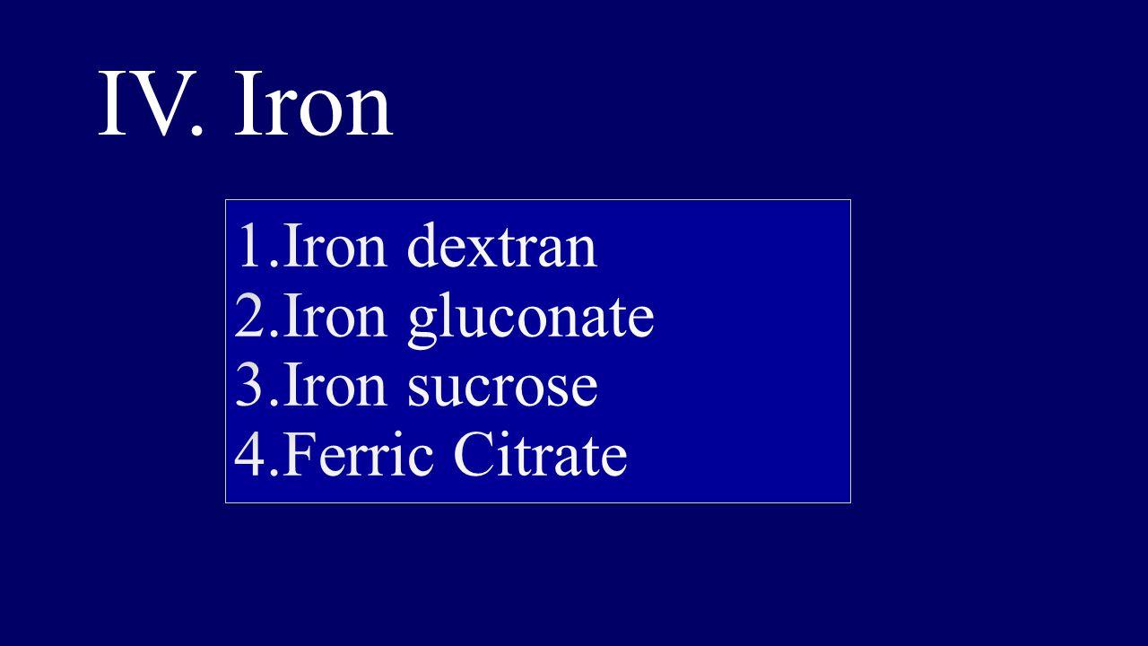 1.Iron dextran 2.Iron gluconate 3.Iron sucrose 4.Ferric Citrate