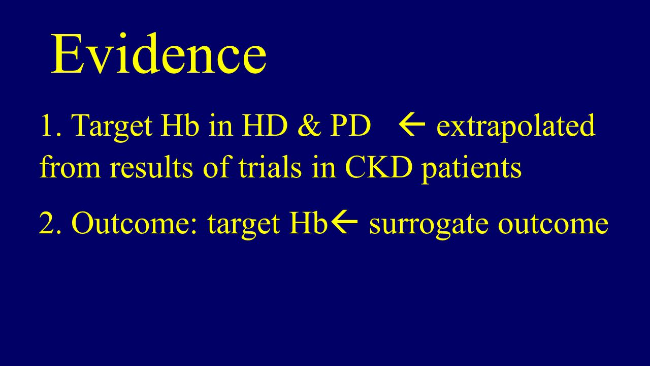 Evidence 1. Target Hb in HD & PD  extrapolated from results of trials in CKD patients.