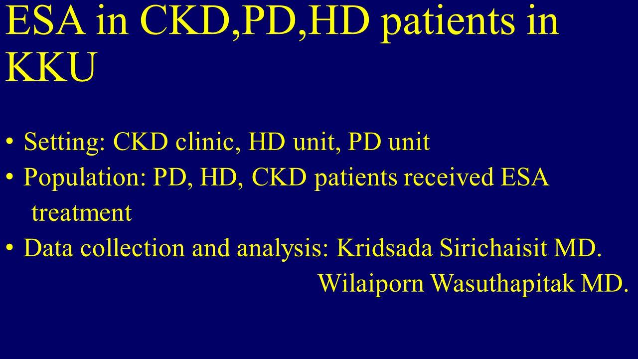 ESA in CKD,PD,HD patients in KKU