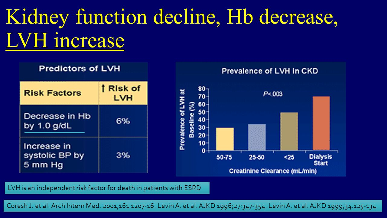 Kidney function decline, Hb decrease, LVH increase