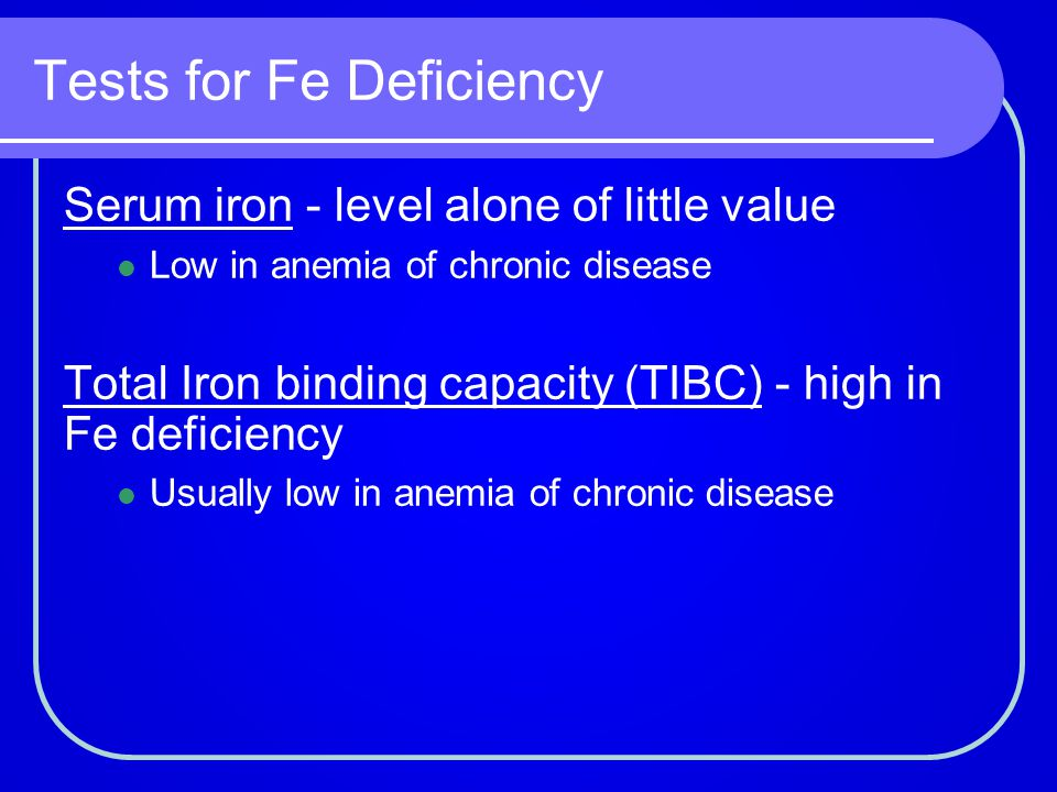Tests for Fe Deficiency
