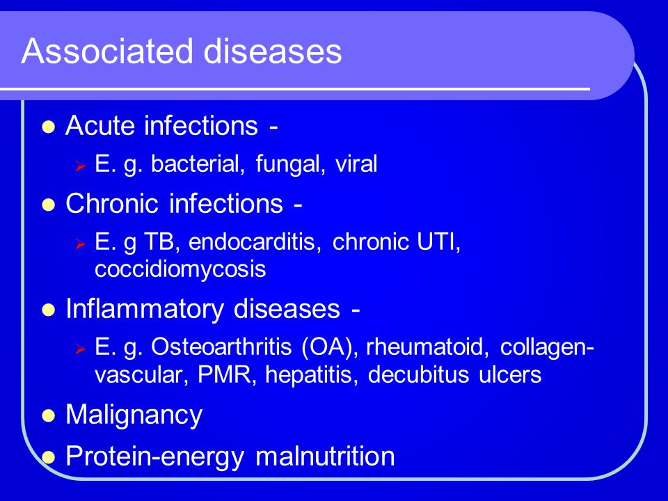 Associated diseases Acute infections - Chronic infections -