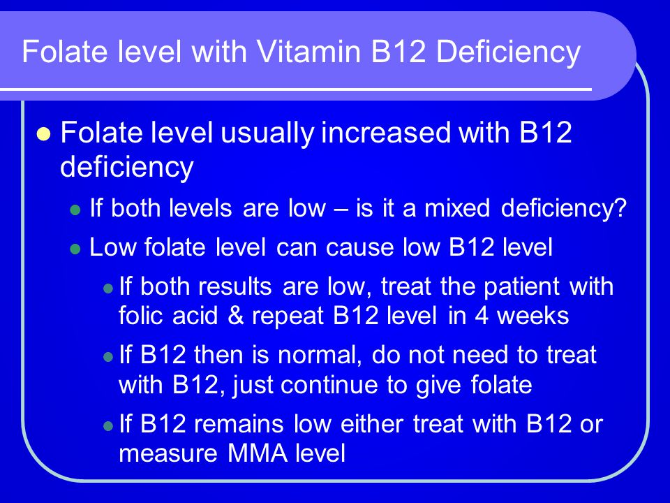 Folate level with Vitamin B12 Deficiency