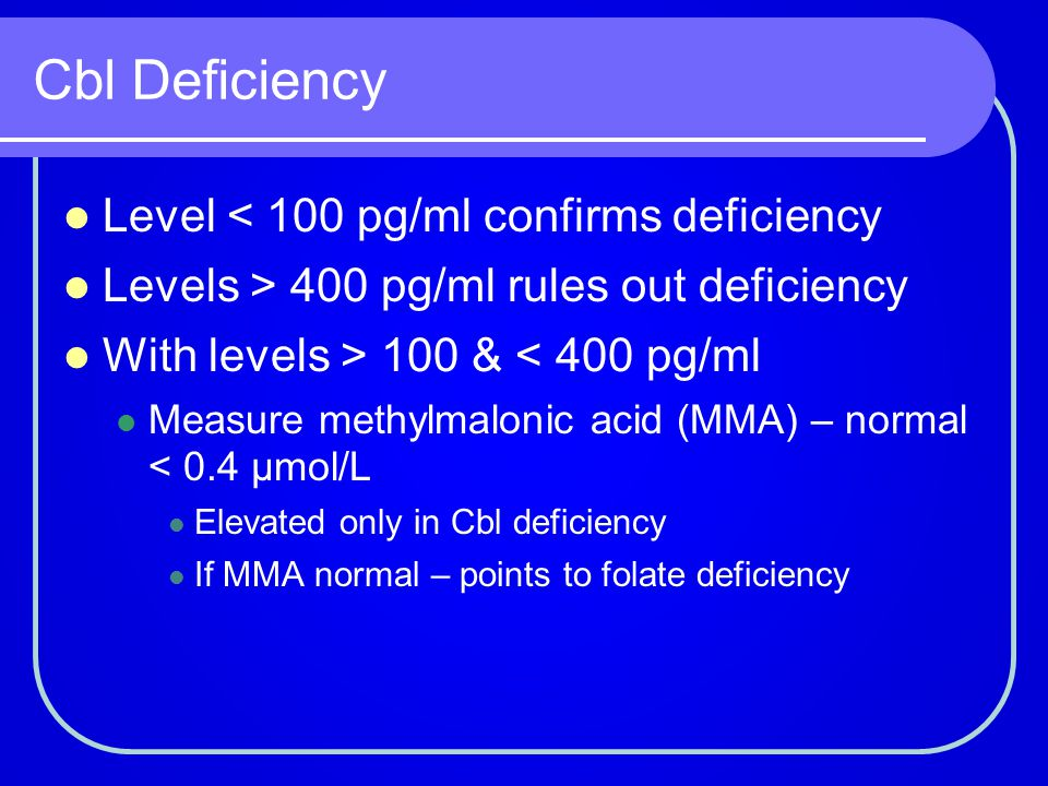Cbl Deficiency Level < 100 pg/ml confirms deficiency