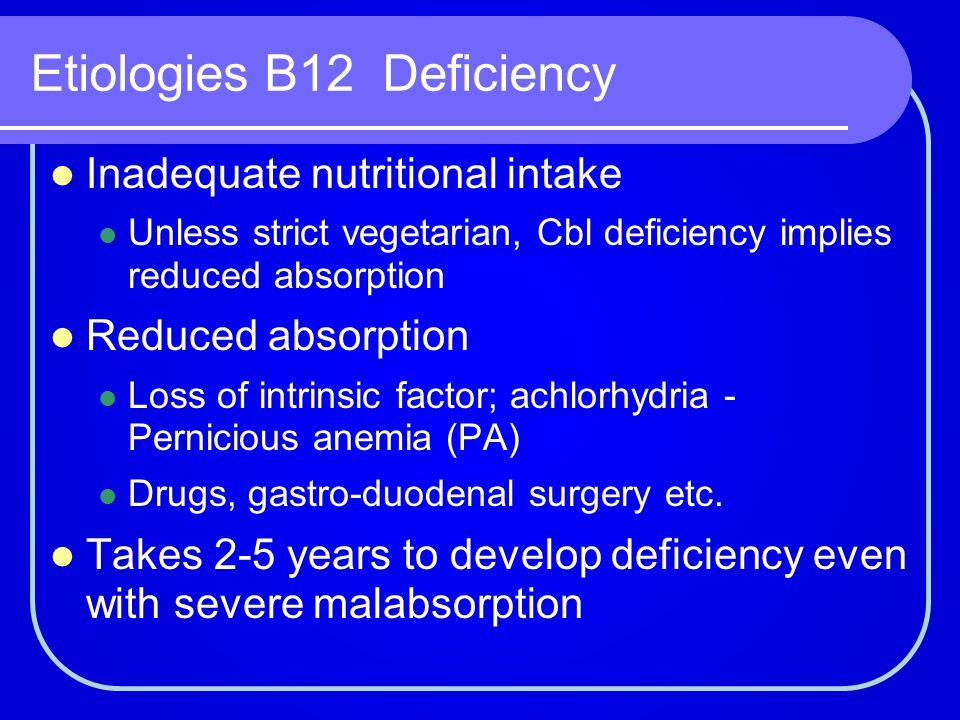 Etiologies B12 Deficiency