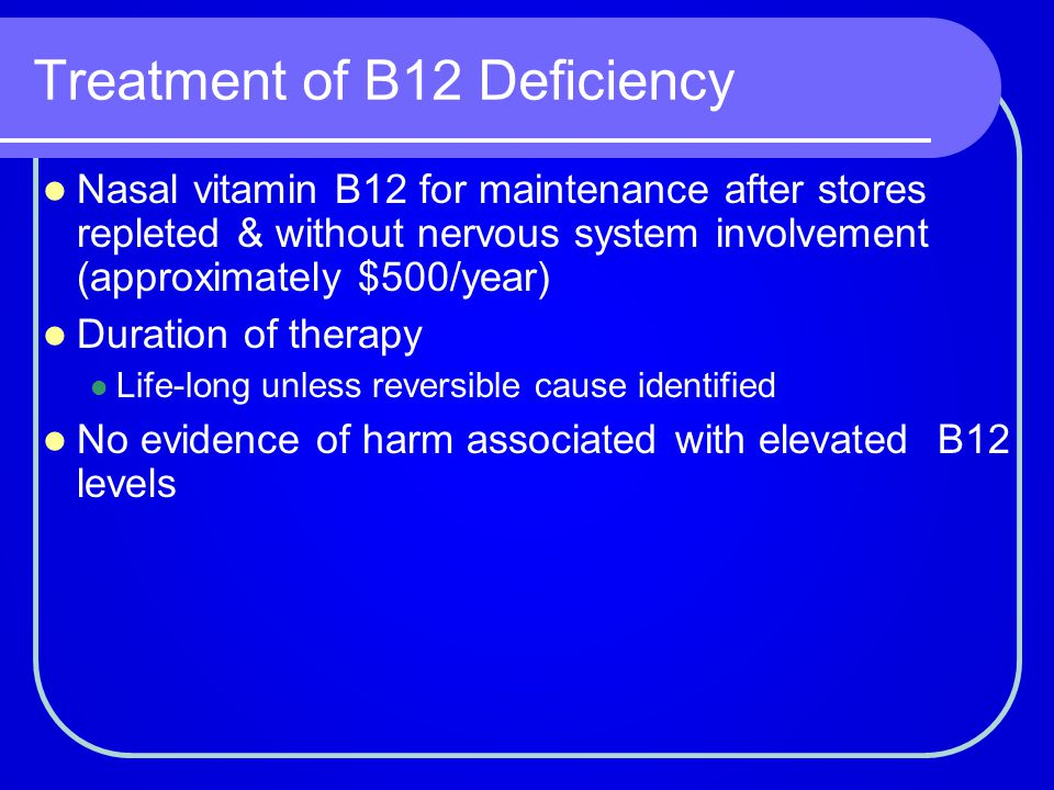 Treatment of B12 Deficiency